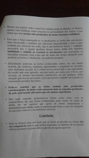 Para Polícia Civil, há indícios de autolesão ou de que as marcas tenham sido feitos de forma consentida Foto: Reprodução/Laudo/Polícia Civil